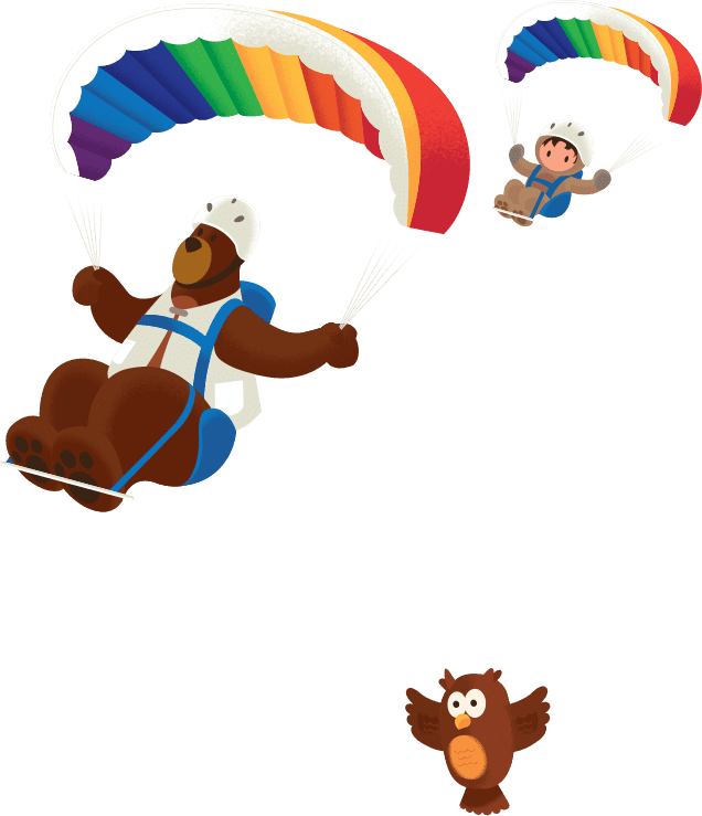 Codey and Astro hang gliding