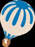 A blue hot air balloon