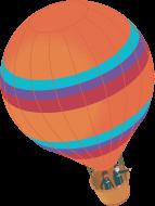An orange hot air balloon