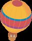 A yellow hot air balloon